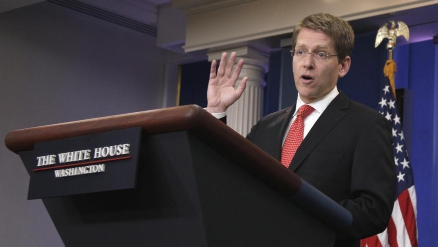 White House Press Secretary Jay Carney gestures during the daily news briefing at the White House in Washington, Tuesday, May 31, 2011. (AP Photo/Carolyn Kaster)