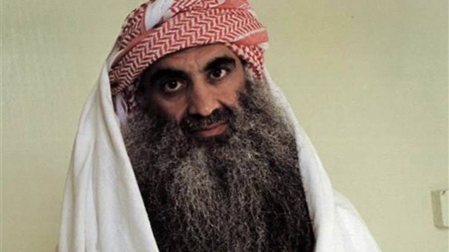 FILE: Photo from an Arabic language Web site shows a man identified as Khalid Sheikh Mohammed in detention at Guantanamo Bay, Cuba.