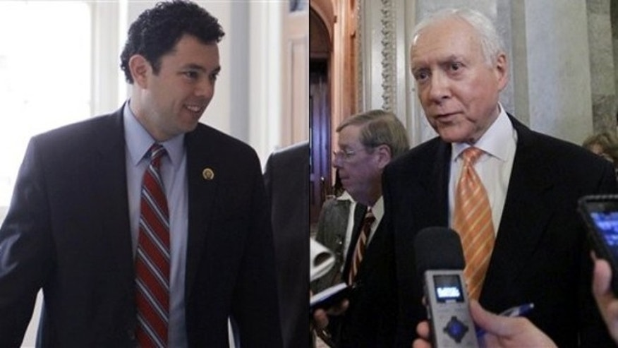 Shown here are Rep. Jason Chaffetz, left, and Sen. Orrin Hatch.