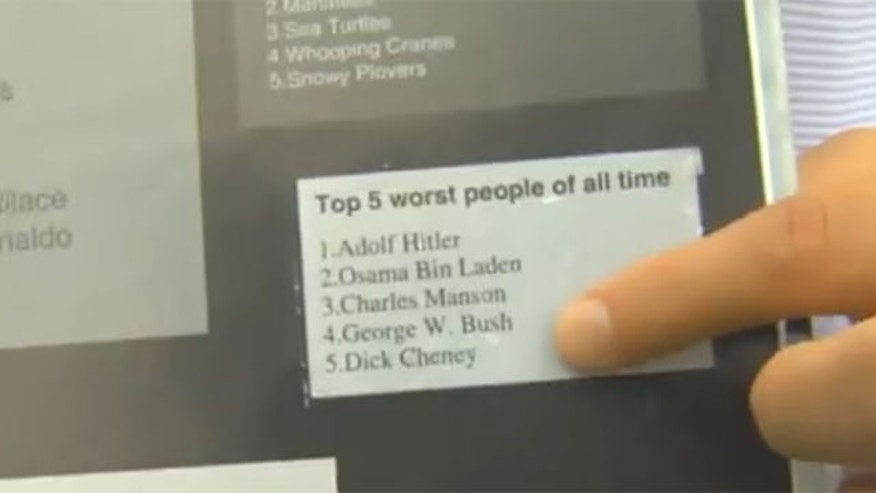 A middle school yearbook groups George W. Bush and Dick Cheney with Adolph Hitler and Usama bin Laden as among the five worst people of all time. (Fox 16)