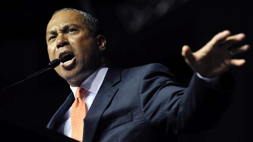 Gov. Deval Patrick addresses members of the state Democratic Convention, Saturday, June 4, 2011, at the Tsongas Arena in Lowell, Mass. The delegates were also addressed by the six hopefuls seeking the U.S. Senate seat currently held by Scott Brown. (AP Photo/Josh Reynolds)