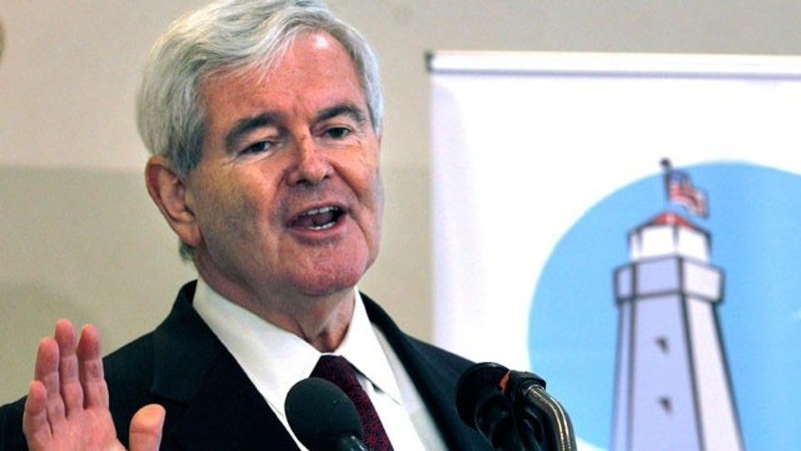 Republican presidential hopeful, former House Speaker Newt Gingrich speaks at the Portsmouth Country Club in Portsmouth, N.H., Thursday, May 26, 2011, to a breakfast meeting of the Seacoast Republican Women. (AP)