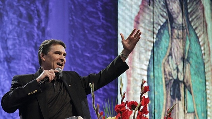 June 12: Texas Gov. Rick Perry speaks during a United For Life event event organized by a Hispanic anti-abortion group at the Los Angeles Memorial Sports Arena in Los Angeles.