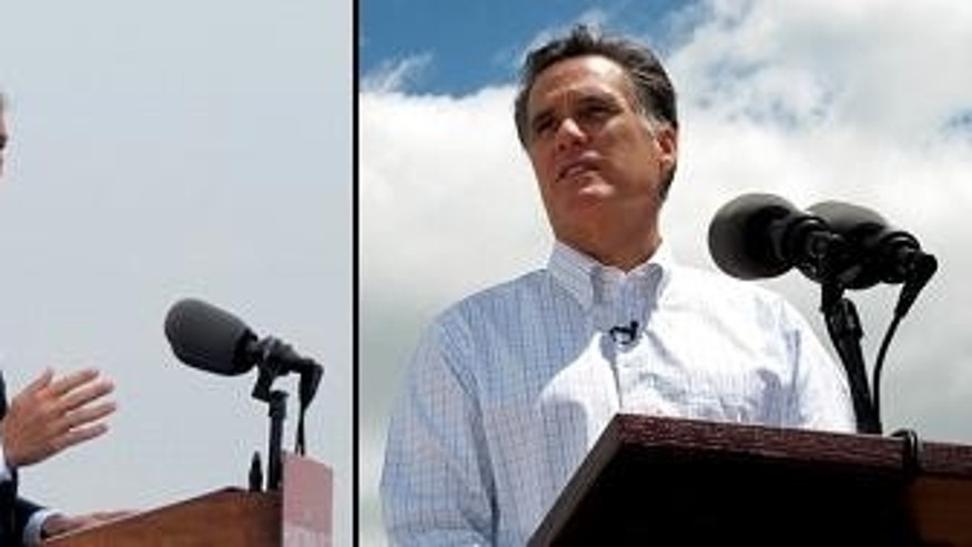 Former Utah Gov. Jon Huntsman, left, and former Massachusetts Gov. Mitt Romney announce their respective campaigns for the 2012 GOP presidential nod. (Fox News Photos)
