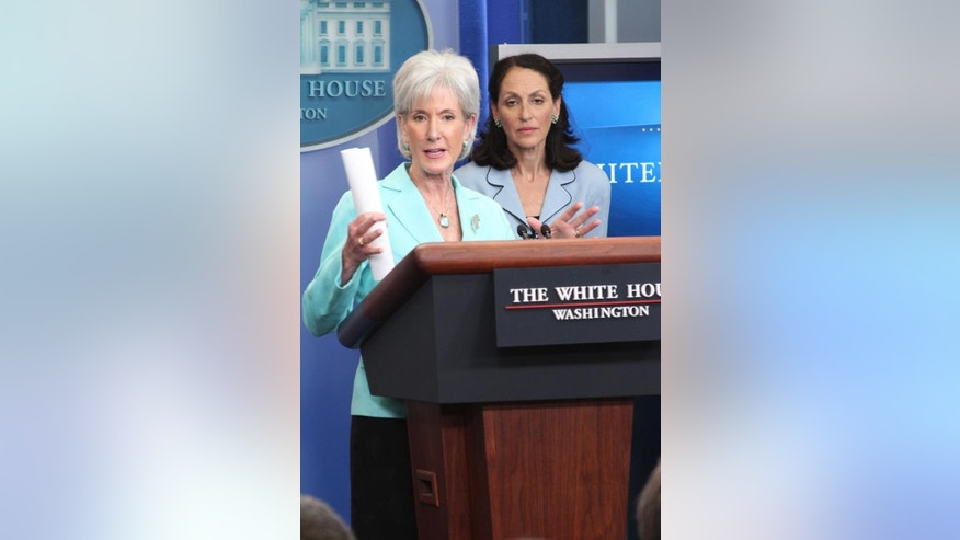 Health and Human Services Sec. Kathleen Sebelius at the White House briefing Tuesday, June 21, 2011. FDA Commissioner Dr. Margaret Hamburg stands behind her. (FOX News Photo)