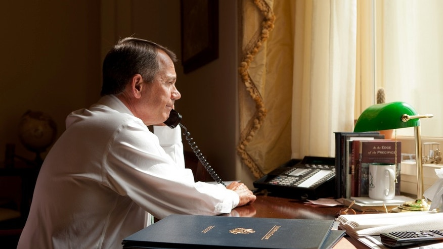 House Speaker Boehner's office.  Speaker Boehner talks with President Obama about the president's plan in Afghanistan.