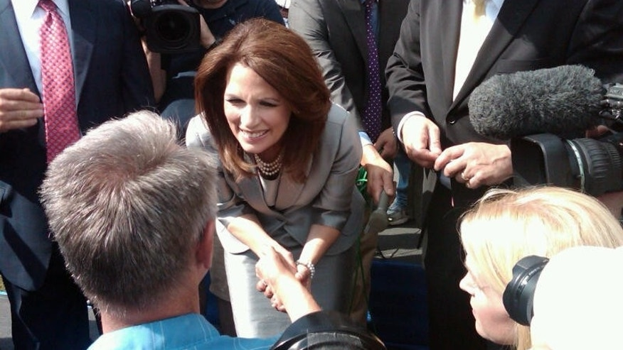 Presidential candidate Michele Bachmann greets a potential voter in Waterloo, Iowa. (Fox News Photo)