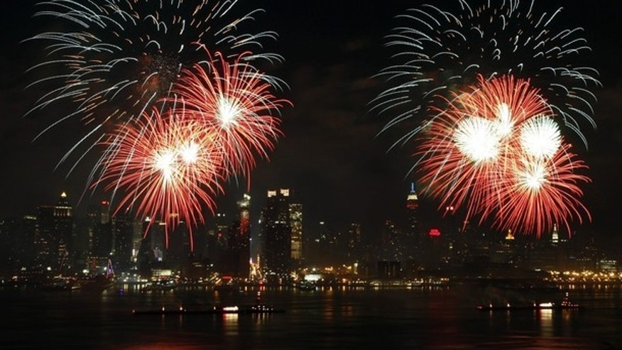 Fireworks explode over the New York City skyline as part of the Independence Day celebration in New York, July 4, 2010. (Reuters)