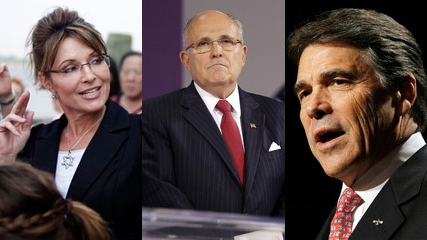 Shown here are former Alaska Gov. Sarah Palin, left, former New York City Mayor Rudy Giuliani, center, and Texas Gov. Rick Perry.