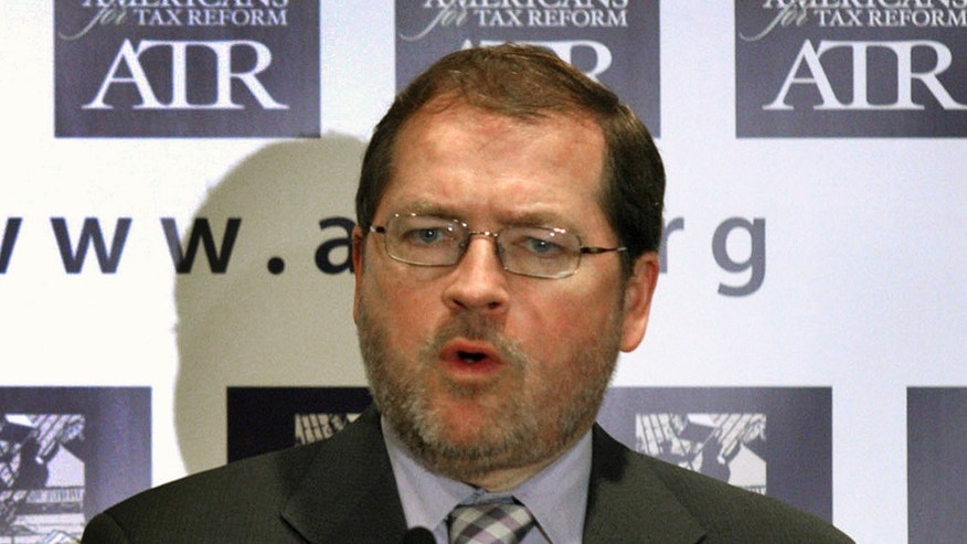 In this April 14, 2011, file photo Americans for Tax Reform President Grover Norquist speaks on Capitol Hill in Washington.
