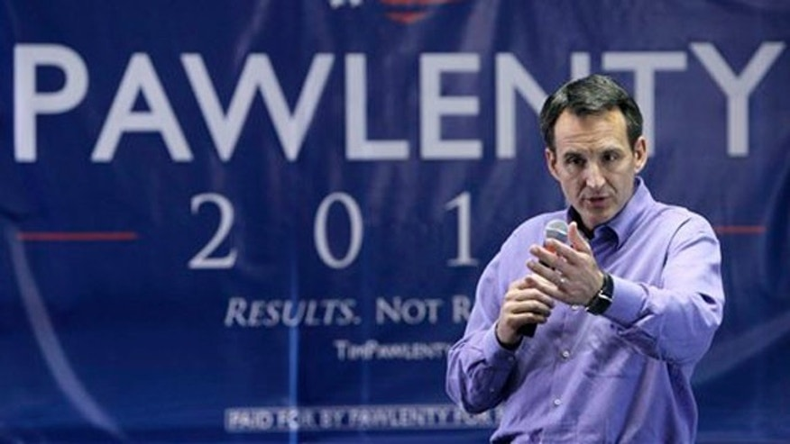 In this July 7 photo, Republican presidential candidate Tim Pawlenty speaks in Urbandale, Iowa.