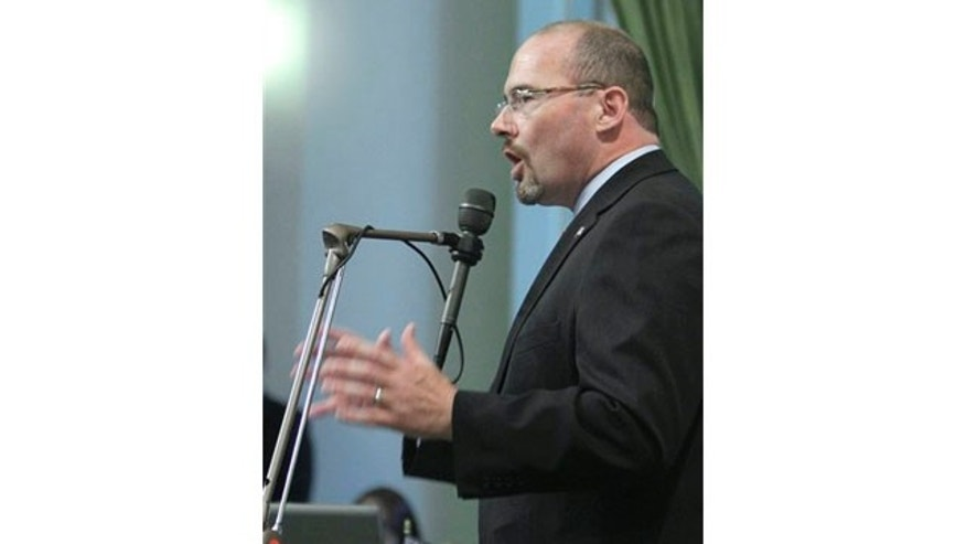 July 5: Assemblyman Tim Donnelly, R-Twin Peaks, called on lawmakers to reject a measure requiring public schools to teach the historical contributions of gay Americans, at the Assembly in Sacramento, CA.