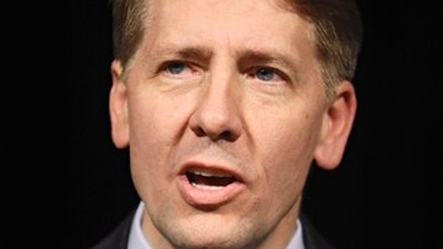 In this Nov. 3, 2010, file photo, then-Ohio Attorney General Richard Cordray speaks at a Democratic election night event in Columbus, Ohio.