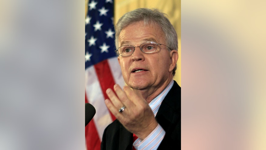 Former Gov. Buddy Roemer of Louisiana speaks during his announcement to run for the Republican nomination and become a candidate for president of the United States at the Hanover Inn on the Dartmouth College campus Thursday, July 21, 2011 in Hanover, N.H. (AP Photo/Jim Cole)