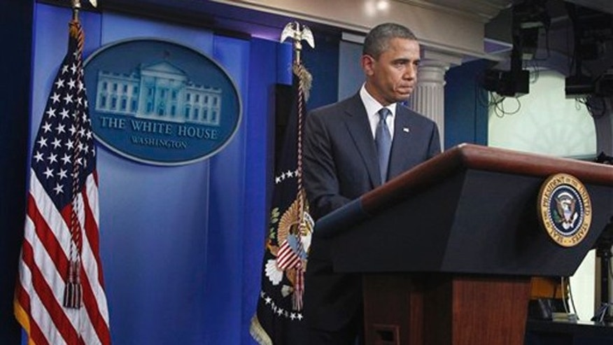 President Obama speaks to reporters July 19 in the the briefing room of the White House in Washington.