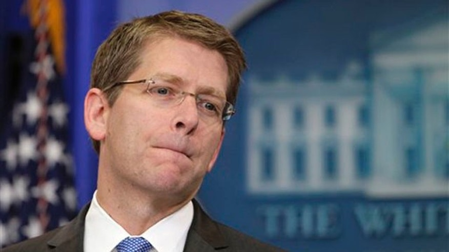 Monday: White House Press Secretary Jay Carney speaks during his daily news briefing at the White House.