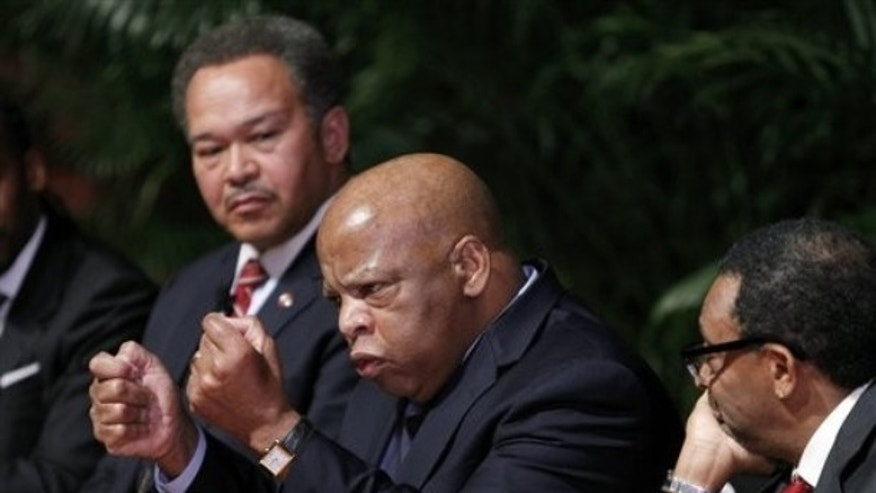Rep. John Lewis, D-Ga. ,speaks during a meeting at Morehouse College in Atlanta, Monday, Jan. 31, 2011.