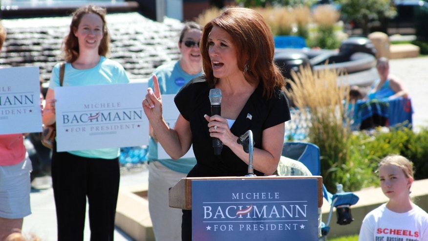 August 8, Michele Bachmann speaks to supporters in Council Bluffs, Iowa.