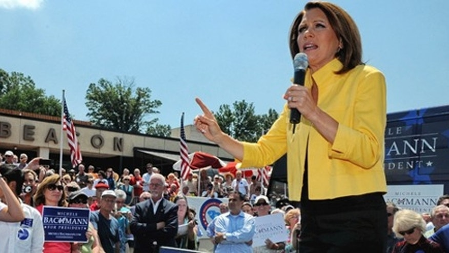Republican presidential candidate, Rep. Michele Bachmann, R-Minn., speaks to supporters at the Beacon Drive-in, Tuesday, Aug. 16, 2011, in Spartanburg, S.C. (AP Photo/ Richard Shiro)