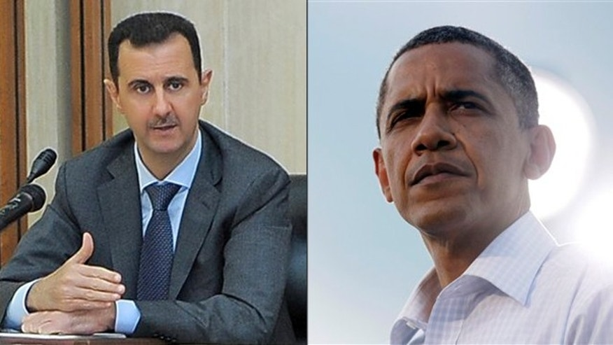 Shown here are Syrian President Bashar Assad and President Obama.