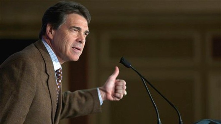 Texas Gov. Rick Perry speaks to members of the South Carolina GOP during a lunch in Columbia, S.C., Aug. 19.