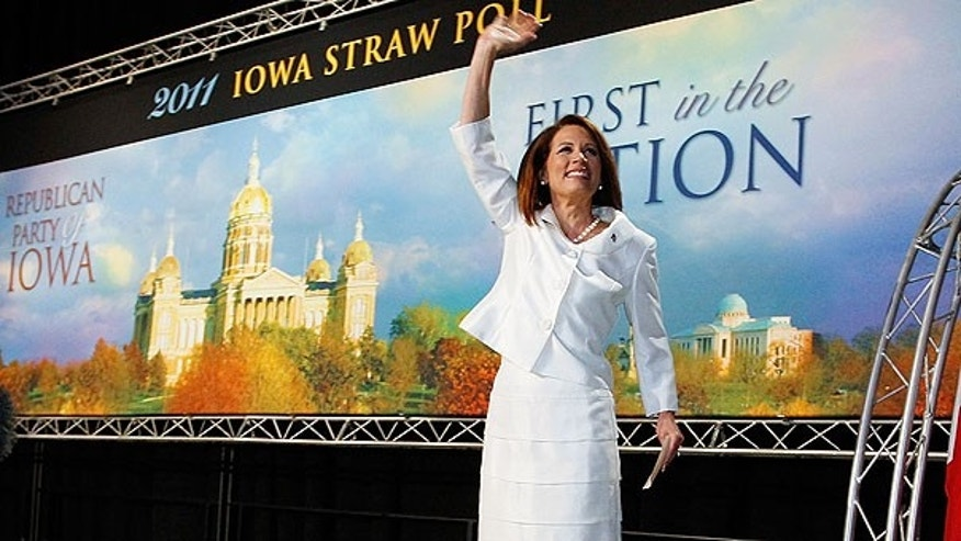 Saturday: Republican presidential candidate Rep. Michele Bachmann takes to the stage to speak at the Republican Party's Straw Poll in Ames, Iowa.