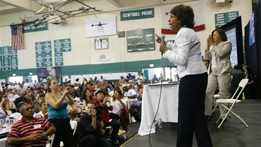 Rep. Maxine Waters speaks during an event at Inglewood High School in Inglewood, Calif., Aug. 20.
