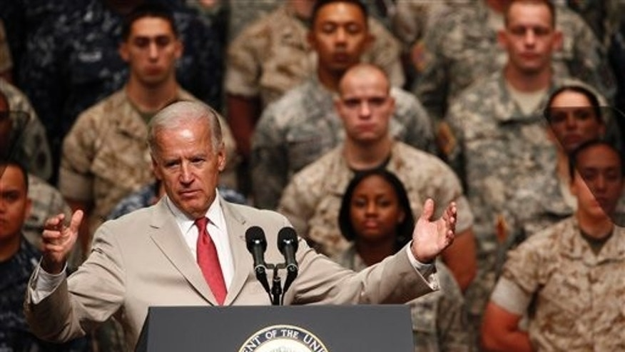 August 24: U.S. Vice President Joe Biden gives remarks at Yokota Air Base, on the outskirts of Tokyo, Japan.