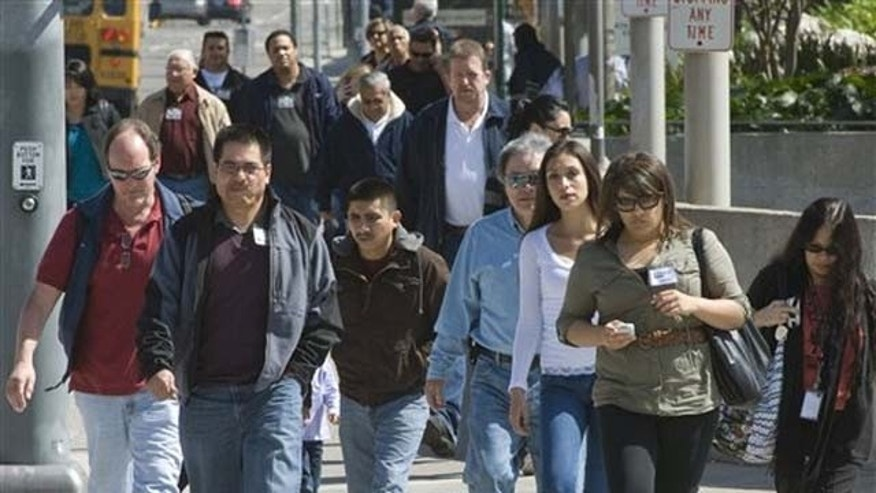 Jurrors and court workers, a cross section of Orange County, leave the Santa Ana, Calif. courthouse on Tuesday, March 8, 2011. Surging Latino and Asian populations accounted for virtually all of California's population growth over the last decade, new Census data shows.