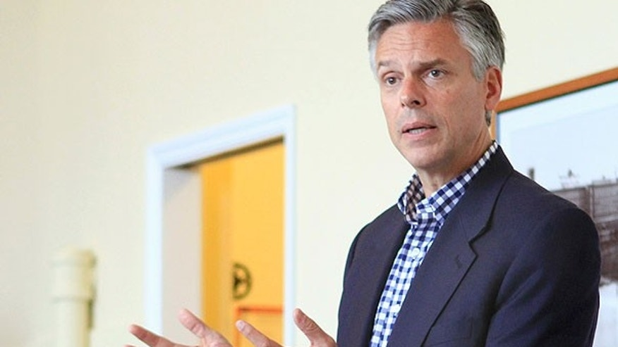 Aug. 5: Republican presidential candidate, former Utah Gov. Jon Huntsman, Jr. speaks during a meeting with the Nashua Chamber of Commerce in Nashua, N.H.