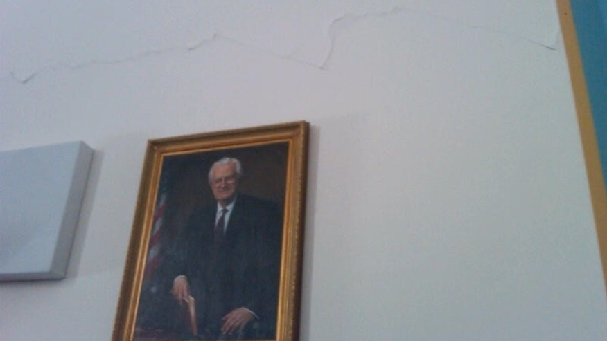 Cracks are visible in the walls of the House Judiciary Committee hearing room in the Rayburn House Office Building. (Fox News Photo/Chad Pergram)