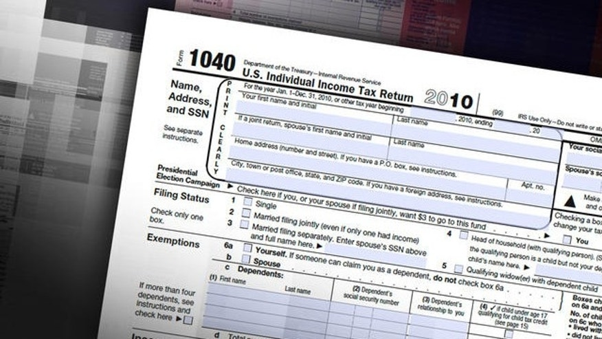 Shown here is a 1040 individual tax return.