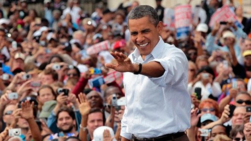 President Obama waves to supporters during a Labor Day speech Sept. 5 in Detroit.