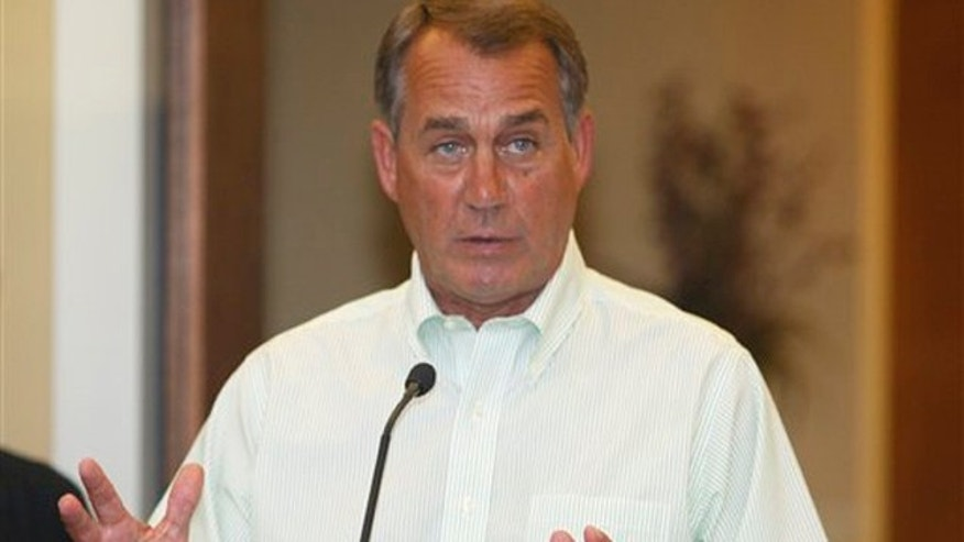 House Speaker John Boehner talks about jobs in West Chester, Ohio, Sept. 2.