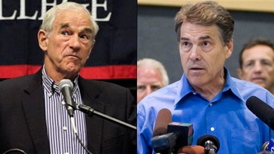 Shown here are Texas Rep. Ron Paul, left, and Texas Gov. Rick Perry.