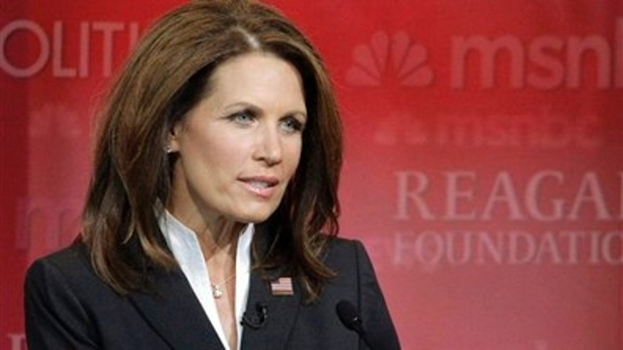 Wednesday: Rep. Michele Bachmann participates in a 2012 Republican presidential primary debate at the Reagan Library in California.