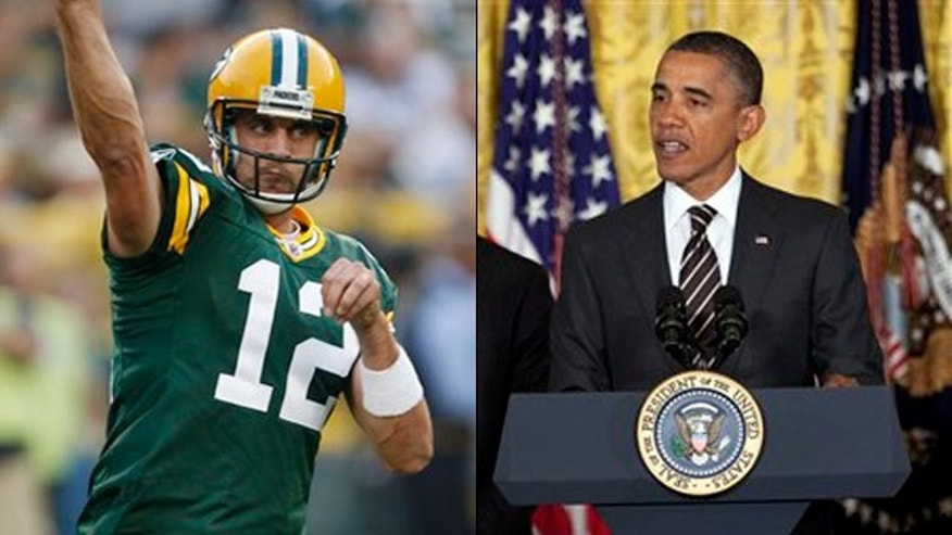 Shown here are Green Bay Packers quarterback Aaron Rodgers, left, and President Obama.