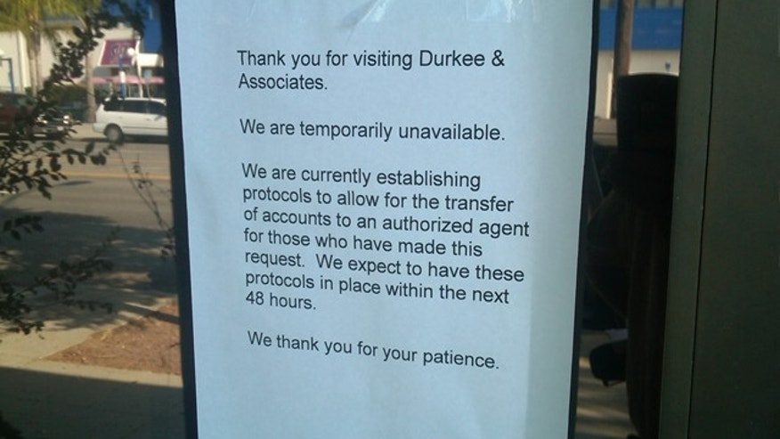 Shown here is a sign on the office of campaign treasurer Kinde Durkee, who is facing fraud charges.