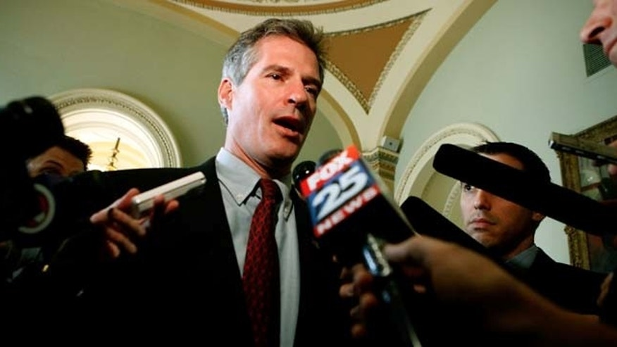 WASHINGTON - JANUARY 21:  Massachusetts U.S. Senator-elect Scott Brown (R-MA) talks with members of the news media during a series of meetings with senators on Capitol Hill January 21, 2010 in Washington, DC. Brown won a come-from-behind victory last week to fill the seat Democratic Sen. Edward Kennedy held for nearly 40 years. Brown has vowed to fight health care reform in Washington, a process that Republicans and Democrats have been battling over for the past year.  (Photo by Chip Somodevilla/Getty Images)