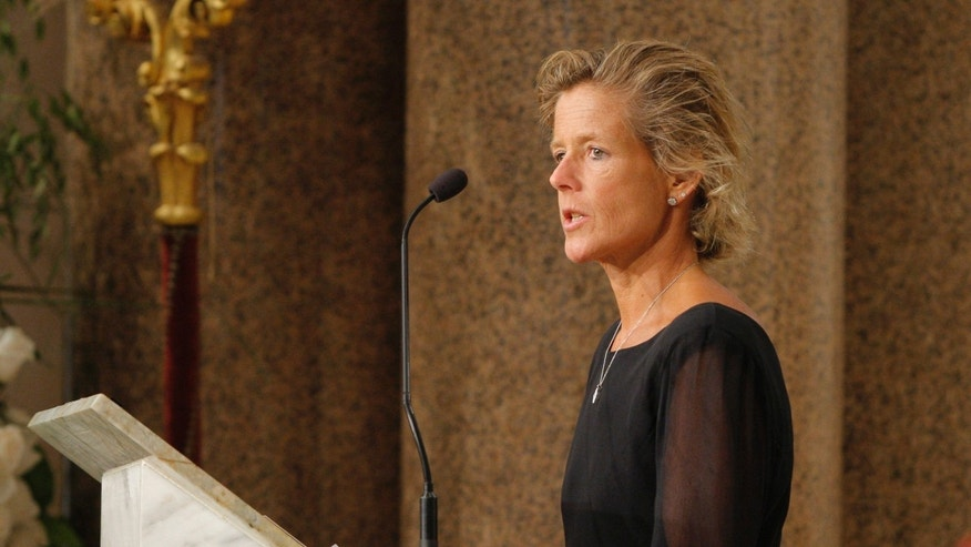 In this Aug. 29, 2009 file photo, Kara Kennedy speaks during funeral services for her father, Sen. Edward Kennedy, at the Basilica of Our Lady of Perpetual Help in Boston.