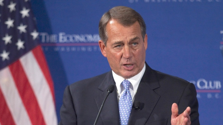 House Speaker John Boehner of Ohio talks about the economy during an address at the Economic Club of Washington, in Washington, Thursday, Sept. 15, 2011.