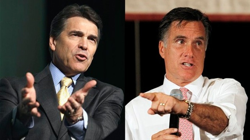 Shown here are Texas Gov. Rick Perry, left, and former Massachusetts Gov. Mitt Romney.