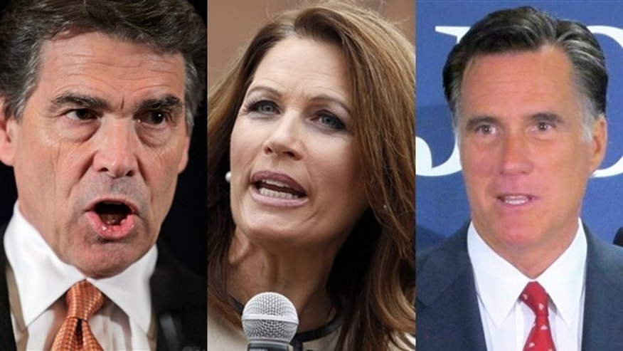 Shown here are Texas Gov. Rick Perry, left, Minnesota Rep. Michele Bachmann, center, and former Massachusetts Gov. Mitt Romney.