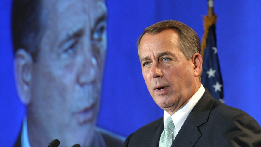 House Speaker John Boehner of Ohio speaks to the National Automobile Dealers Association meeting in Washington, Wednesday, Sept. 21, 2011.