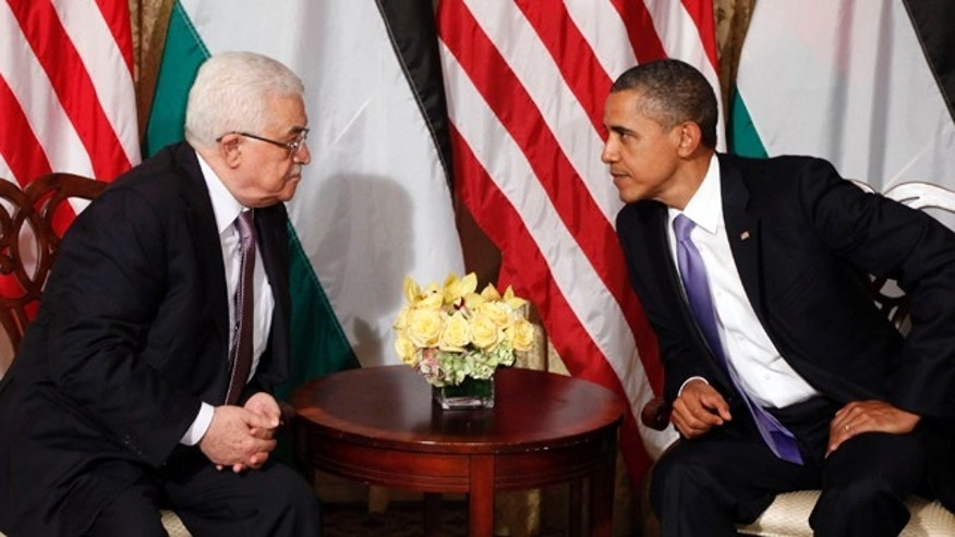 Sept. 21: President Barack Obama talks with Palestinian President Mahmoud Abbas during a meeting in New York.