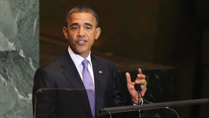 President Obama speaks during the 66th session of the General Assembly at United Nations headquarters Sept. 21.