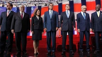 FILE - In this Sept. 7, 2011, file photo Republican presidential candidates stand together before a Republican presidential candidate debate at the Reagan Library in Simi Valley, Calif. Now Florida is about to get into the Republican presidential race big time, starting with a televised debate Monday, Sept. 12, in Tampa and ending with an early primary in 2012 that conceivably could wrap up the nomination.  From left are former Pennsylvania Sen. Rick Santorum, former House Speaker Newt Gingrich, Rep. Michele Bachmann, R-Minn., former Massachusetts Gov. Mitt Romney, Texas Gov. Rick Perry, Rep. Ron Paul, R-Texas, Businessman Herman Cain and former Utah Gov. Jon Huntsman.  (AP Photo/Chris Carlson, File)