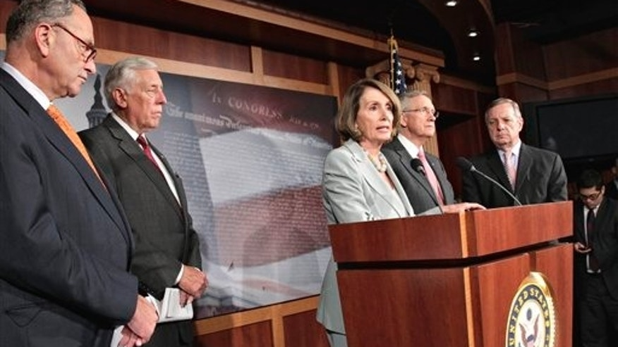 September 23: House Minority Leader Nancy Pelosi joins other Democrats at a news conference on Capitol Hill in Washington as they struggle with Republican lawmakers over whether funding for victims of natural disasters should be paid for by cuts to other government programs.