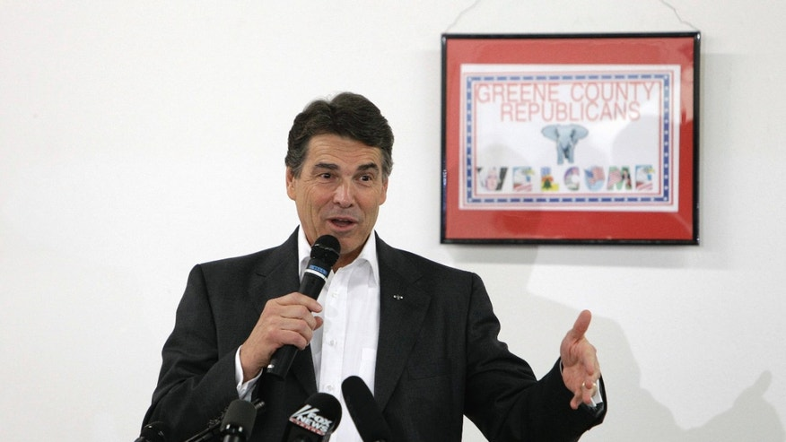 September 15: Republican presidential candidate Texas Gov. Rick Perry speaks in Jefferson, Iowa.