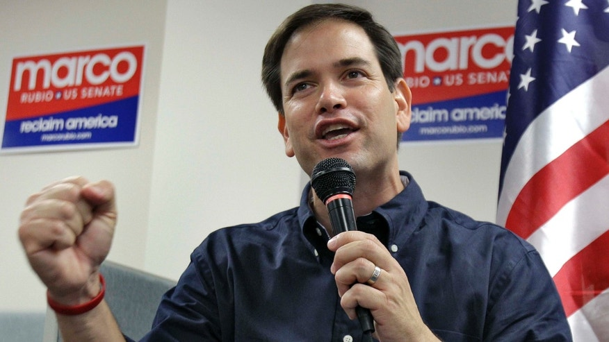 Republican candidate for the U.S. Senate, Marco Rubio, pumps his fist as he finishes speaking to supporters during a campaign stop Saturday, Oct. 30, 2010, in Lakeland, Fla. (AP Photo/Chris O'Meara)